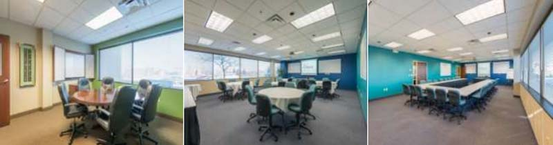 three small meeting room set up examples with 1. small round table 2. multiple work stations 3. u-shaped table layout