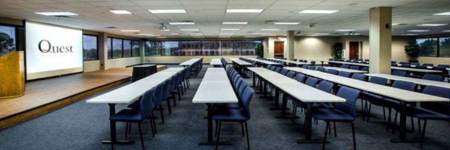 The Columbus Meeting room is the largest meeting room at Quest
