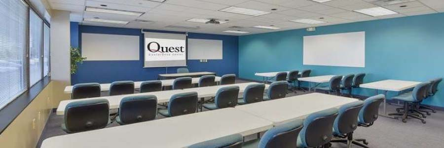 an example of a small sized meeting room set up in a classroom styled layout